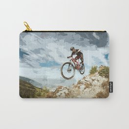 Flying Downhill on a Mountain Bike Carry-All Pouch