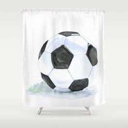 Soccer Ball Watercolor Shower Curtain