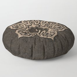 Aged Stone Lotus Flower Yoga Om Floor Pillow