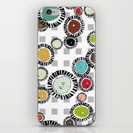 Wedge Circle on Gray Check iPhone Skin