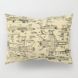 F-18 Blueprints // Tan Pillow Sham