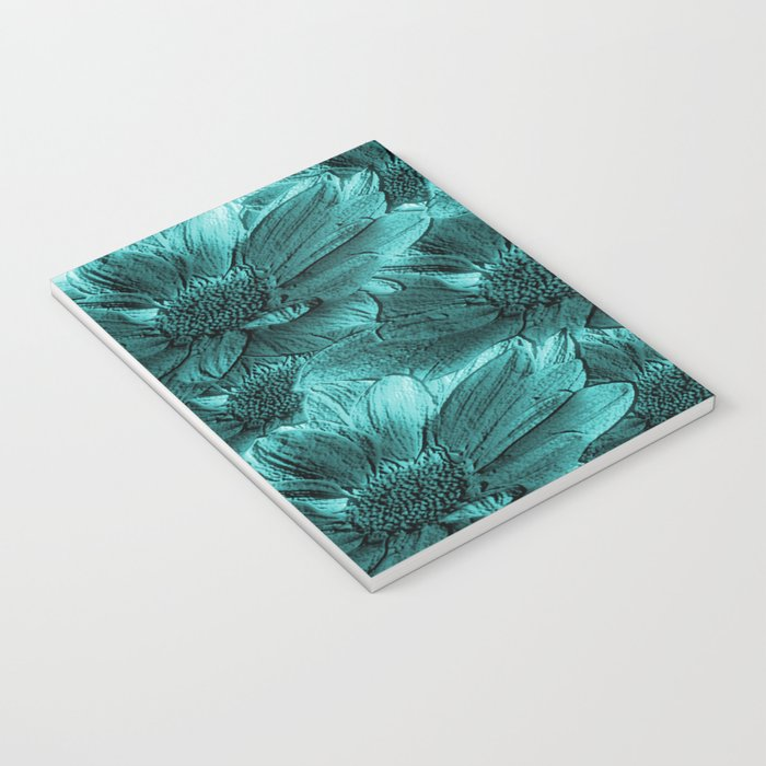 Turquoise Floral Abstract Notebook