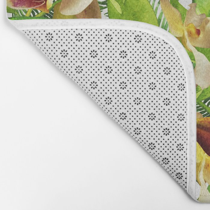 My tropical Orchid Garden- Jungle Pattern on #Society6 Bath Mat