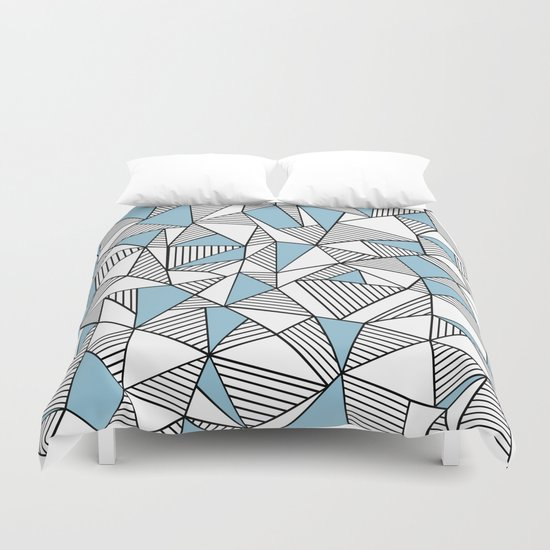 Abstraction Lines Sky Blue Duvet Cover