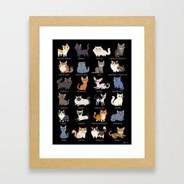 CATS on black Framed Art Print