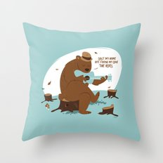 Brown Bear Blues Throw Pillow