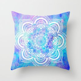 Mandala Pink Lavender Aqua Galaxy Space Throw Pillow
