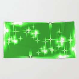 Vector light green shining background with light stars. For registration of paper or banners. Beach Towel
