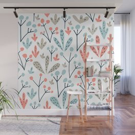 Coral Duck Egg Blue Greige Floral Leaves Wall Mural