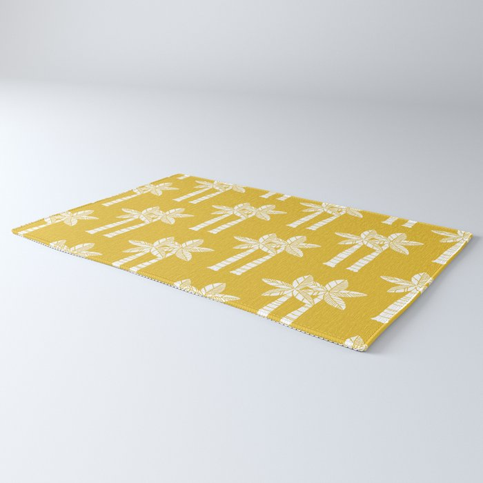 Palm Tree Pattern Mustard Yellow Rug