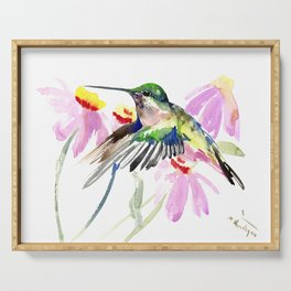 Hummingbird and Light Purple Flowers, birds and flowers Serving Tray