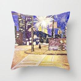 Streetlights by Starlight Throw Pillow
