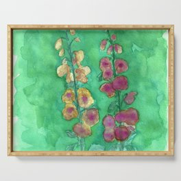 Hollyhock Foxglove Watercolor Honey & Berry on Green Serving Tray