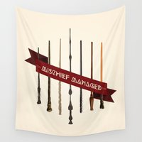 marauders Wall Tapestries featuring Mischief Managed by Dorothy Leigh