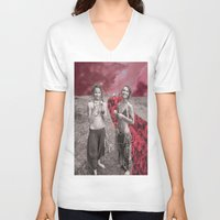 hippy V-neck T-shirts featuring Hippy Girls X Roses by LittleCarmine