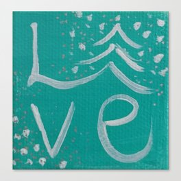 Teal,White and Silver Christms Tree Love Canvas Print