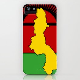 Malawi Map on a Malawian Flag iPhone Case