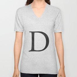 Letter D Initial Monogram Black and White Unisex V-Neck