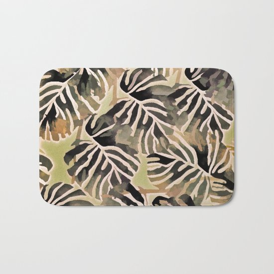 Vintage Leaf Abstract Bath Mat