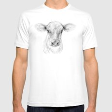 Moo ::  A Young Jersey Cow MEDIUM White Mens Fitted Tee