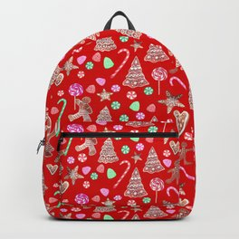 Christmas Gingerbread people and candy canes Backpack