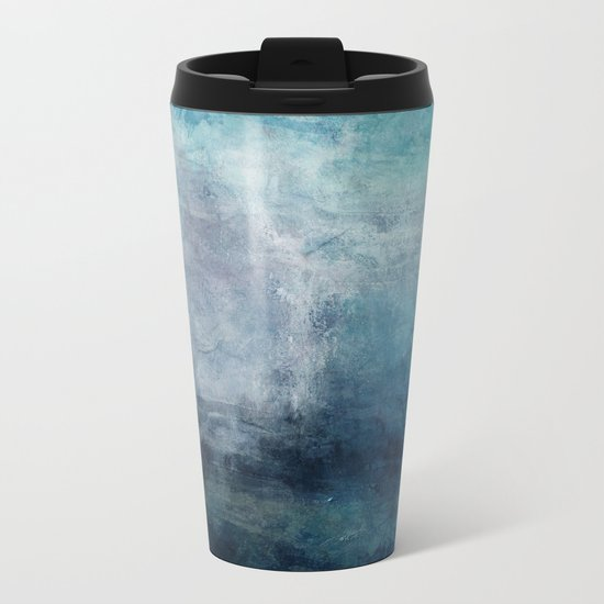 Beach in Blue Metal Travel Mug