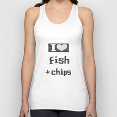 I ♥ Fish And Chips - Dark Gray Unisex Tank Top
