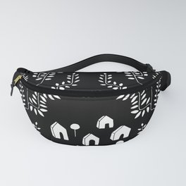 Line Vine Village Line Art Illustration in Black Fanny Pack