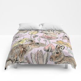 rabbits and flowers with color Comforters