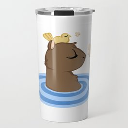 Capybara in the lake Travel Mug