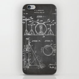 Drum Set Patent - Drummer Art - Black Chalkboard iPhone Skin