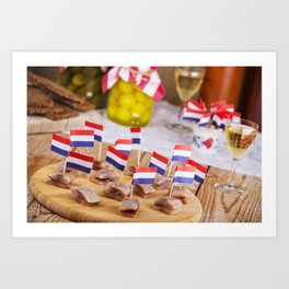 II - Dutch herring ('haring') with onions and pickles on rustic table Art Print