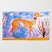 greyhound Area & Throw Rugs featuring Greyhound by Caballos of Colour