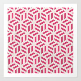 Square Box Line Pattern Art Print