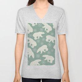 Polar Bears and Snowflakes Unisex V-Neck