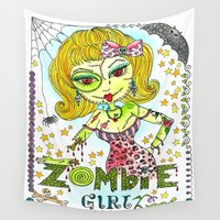 zombie Wall Tapestries featuring Zombie by Natashagrace