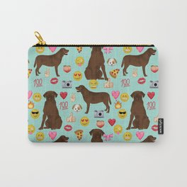 Chocolate lab emoji labrador retrievers dog breed Carry-All Pouch
