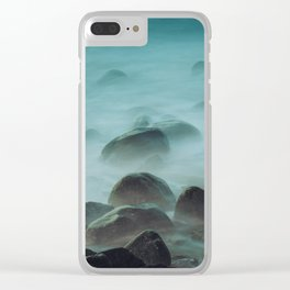 Ocean waves against the rocks Clear iPhone Case