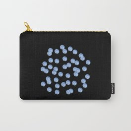 Blue Polka Dots on Black Carry-All Pouch
