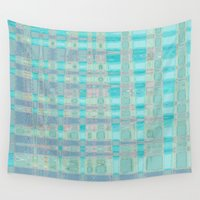 plaid Wall Tapestries featuring Watercolor Plaid by Nancy Smith