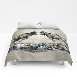 Fighting Bighorn Sheep Rams Comforters