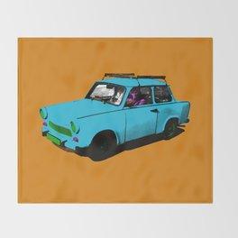Trabant blue pop Throw Blanket