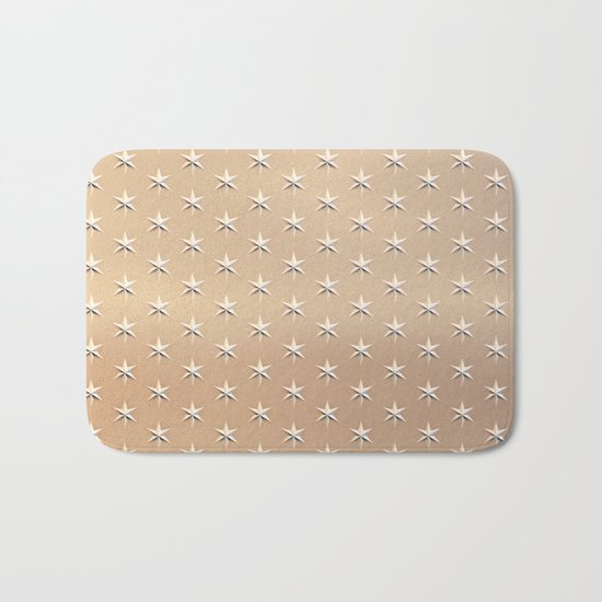 silver star pattern on gold Bath Mat