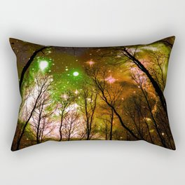 Black Trees Peach Brown Green Space Rectangular Pillow