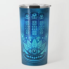 Hamsa Hand Magic Eye Blue Watercolor Art Travel Mug