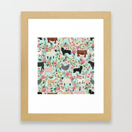 Farm animal sanctuary pig chicken cows horses sheep floral pattern gifts Framed Art Print