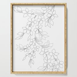 Minimal Wild Roses Line Art Serving Tray