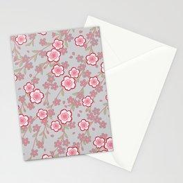 Japanese Vintage Floral Kimono Pattern with Pink Sakura Stationery Cards