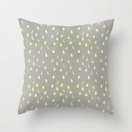 Modern hand painted pink yellow watercolor ombre brushstrokes Throw Pillow