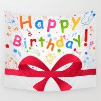 birthday Wall Tapestries featuring Birthday by aleksander1
